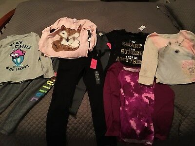 Lot of 8 Girls JUSTICE Tops Sweaters Pants Size 8