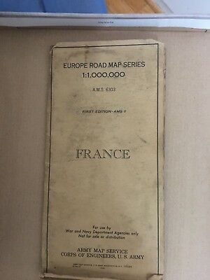 Europe Road Map Series FRANCE, ARMY MAP SERVICE, CORPS OF ENGINEERS, 1944