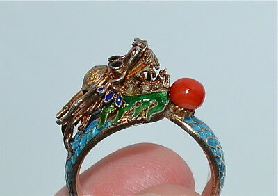 Antique Chinese Enameled Silver Ring Dragon Coral Bead Size ~ 7-1/2