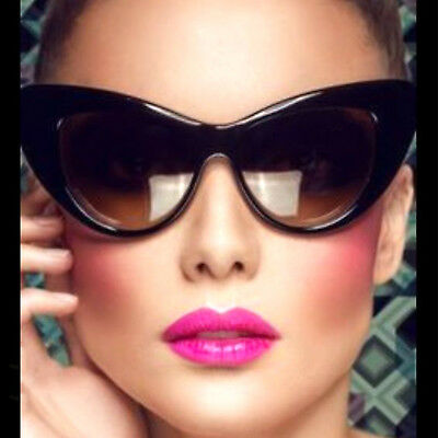Large XXL Oversized CatEye Sunglasses Retro Frame Women Fashion Black Brown