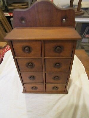 Antique 8 drawer oak ash spice apothecary cabinet looks to be in original finish