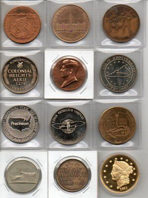 Lot Of 12 Large Medals, Bronze, Brass, C/N, Gold Plated