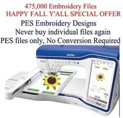 475,000 PES ONLY Machine Embroidery Designs on USB  Brother/Bernina