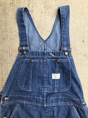 Vintage Distressed Big Mac Denim Bib Overalls Work Wear Penney's Square Bak