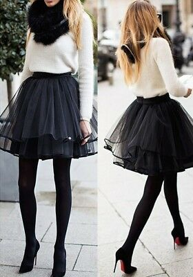 Women Girl Ballet Tulle Pleated Tutu Skirt Wedding Party Prom Bouffant Dress Hot