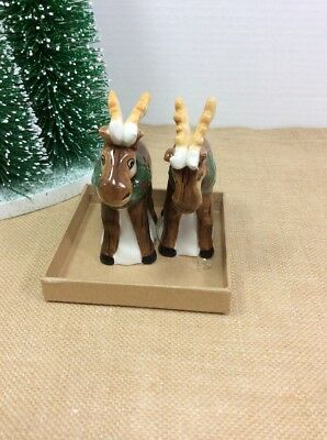 NEW! Blue Sky Moose Reindeer Salt and Pepper Shakers Set Christmas Collection