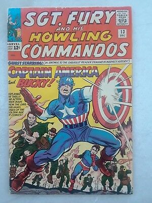 Sgt. Fury And His Howling Commandos #13 Fine    Captain America!   Key!