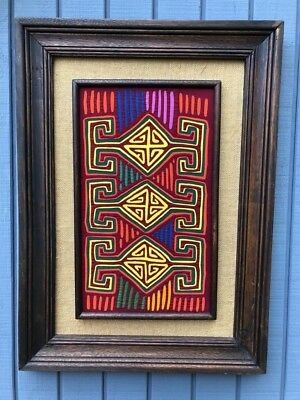 Large Vintage Framed Kuna Mola - Multicolor Geometric design