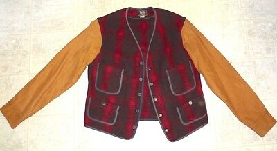 VINTAGE 40's/50's WOOLRICH PLAID HUNTING VEST WITH SLEEVES SIZE 38
