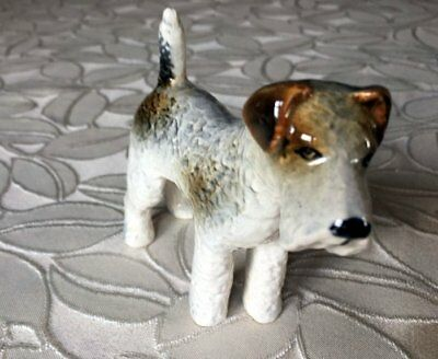 Vintage Fox Wire Hair Terrier Dog Figurine Porcelain Stand Pose Germany Textured