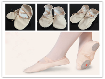 NEW Canvas Ballet Dance Shoes Slippers  Beige Nude Dancing Yoga Shoe Pink