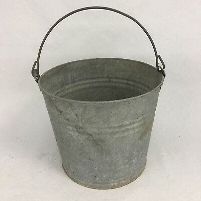 Vintage Galvanized Water Pail Garden Bucket Wire Bail Handle #10