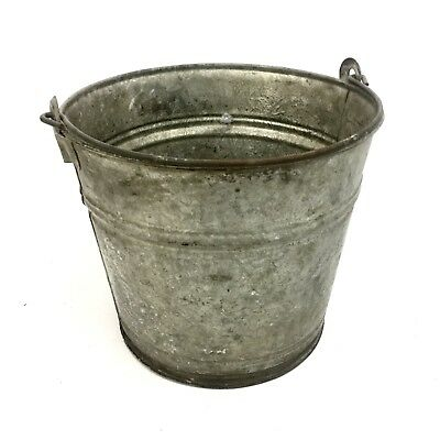 Vintage Galvanized Milk Pail Bucket Metal Bale Handle Rustic Country Farm Decor