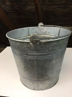 Vintage Galvanized Steel Milk Pail # 12 Metal Handle Rustic Farm Bucket Decor