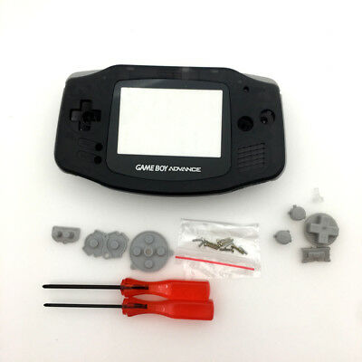 Black Housing Shell Case Buttons & Glass Lens for Gameboy Advance GBA Console