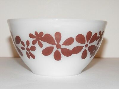 Pyrex Mixing Bowl Small White with Brown Retro Floral Pattern - Bakeware