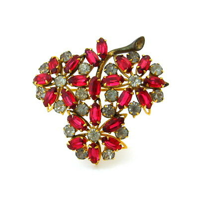 Vintage 1930s Ruby Red Rhinestone Flower Brooch, Art Deco Floral Figural Pin