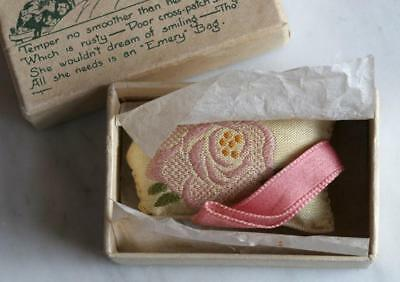 1920s Antique Embroidered Emery Bag Mint in Original Gift Box