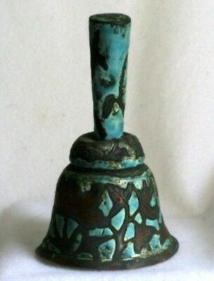Antique 1900s Chinese Export Copper Enamel Bell w Flowers and Leaves