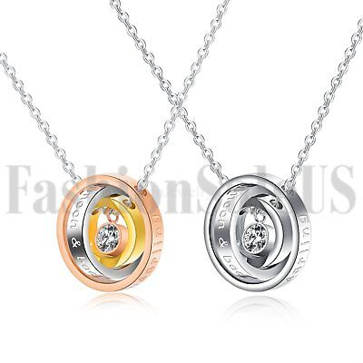 """Stainless Steel His and Hers """"I Love You Darling"""" Couples Promise Rings Necklace"""