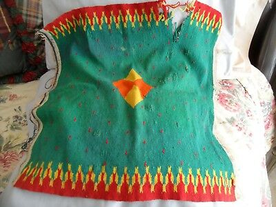 Vintage NATIVE AMERICAN TAPESTRY green red yellow indian woven wool rug mat