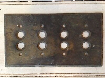 Vintage/Antique Solid Brass Push Button Light Switch Cover, 4 Gang, tarnished