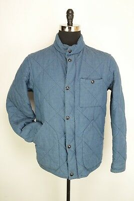 J. Crew Blue Cotton Quilted Vintage Military Inspired Insulated Jacket Coat M