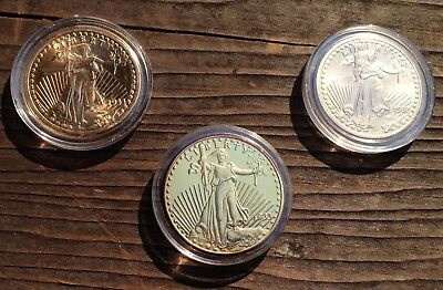Set Of 3 1933 St. Gaudens $20 Dollar 24K Gold Plated Tribute Coins