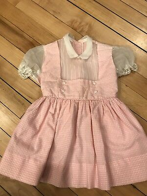 Vintage 1950's Girls Party Dress Pinafore Sheer Toddler Infant Lace Gingham