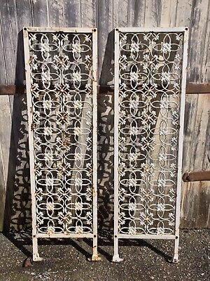 Pair VTG Ornate Cast Iron Metal ARCHITECTURAL SALVAGE Arbor Garden Panel Pieces