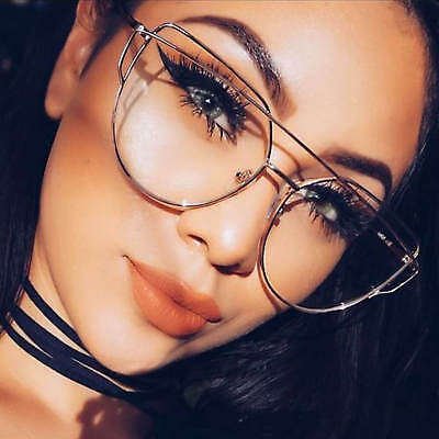 Celebrity Cat Eye Glasses Flat Clear Lens Metal Frame Women Fashion Eyeglasses