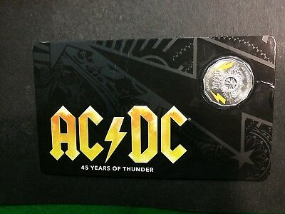 2018 Australia 50 Cents Ac/dc 45 Years Of Thunder Coloured Unc Coin