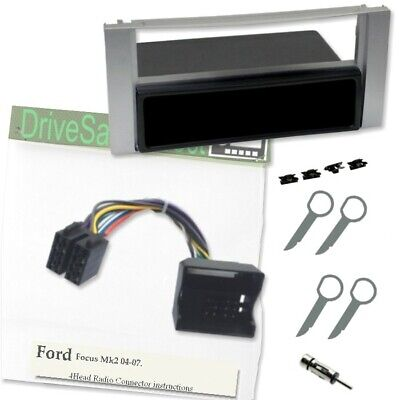 4-Head-2083-l Silver Facia and Adaptor Kit for ISO Radio/Ford Focus Mk2 04-07