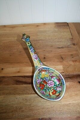"Asian 24k Gold Leaf Pressed China Large 8.5"" Spoon"