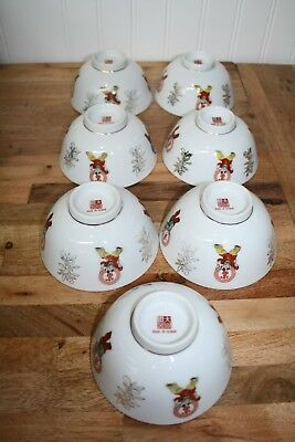 "Asian China Set of Seven - 4.5"" Rice Bowls"