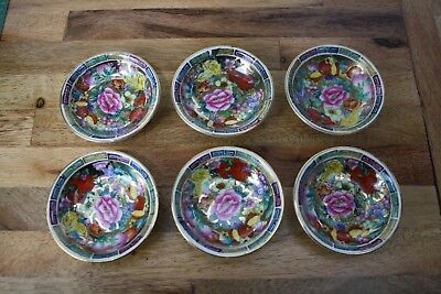 Asian 24k Gold Leaf Pressed China Set of 6 XSmall Sauce Side Ramekin flat dishes