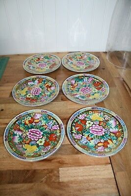 "Asian 24k Gold Leaf Pressed China Set of Six - 6"" Plates"