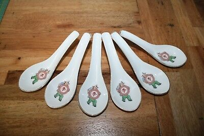 Asian China Set of Six -Soup Spoons