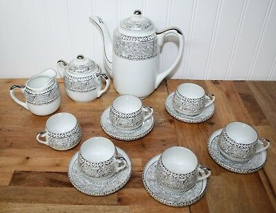 Vintage Kutani Japanese Demitase White and Silver 16 pc Tea Set