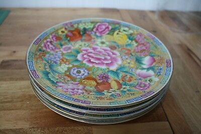 "Asian 24k Gold Leaf Pressed China Set of Four - 9""  Luncheon Plates"