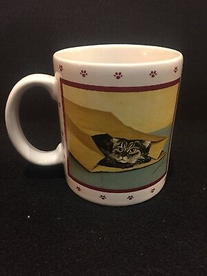 Brand New In Box Vintage 1984 Lowell Herrero Vandor Cat Peeking Out Of Bag Mug