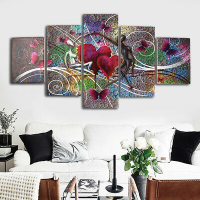 5Pcs Abstract Love Butterfly Art Oil Picture Canvas Print Paintings Wall Decor