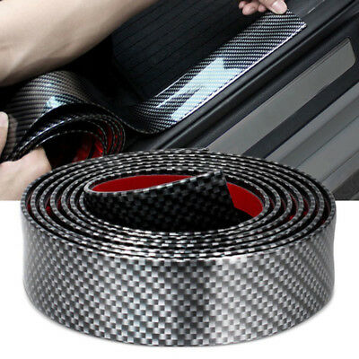 Car Door Sill Protector Carbon Fiber Front Bumper Corner Guard Strip Trim 1m*5cm