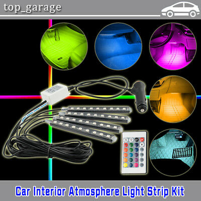 4PCS 9 LED Remote Control RGB Car Interior Floor Atmosphere Neon Light Strip Kit
