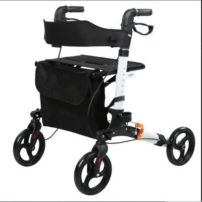 Ultra Lightweight 4 wheeled Rollator Walker Medical Frame With Seat Only 13lbs