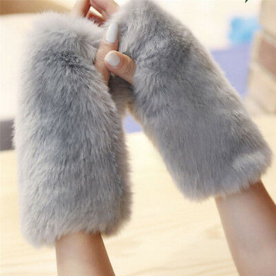 Women Soft Fashion Fingerless Faux Fur Wrist Arm Warmer Furry Knitted Glove EO
