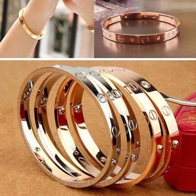 Women's Stainless Steel Screw Head Love Cuff Bangle Bracelet Wedding Party BT