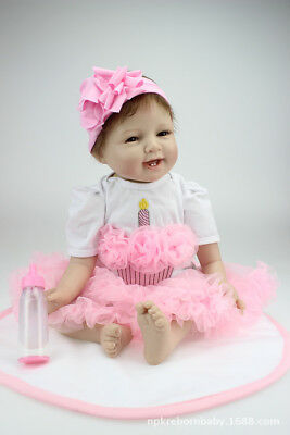 US 21'' Smile Baby Girl Reborn Lifelike Newborn Doll Silicon Toddler Dolls Gifts