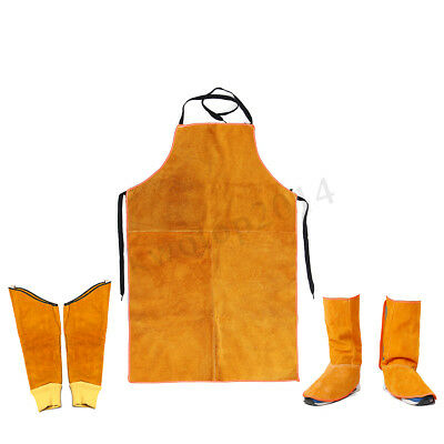 Cowhide Leather Welding Cover Feet Shoe Hand Sleeve Apron Welder Protection Kit