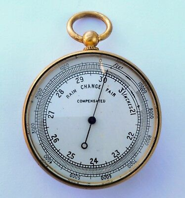 Antique Pocket Compensated Barometer with Leather Case.